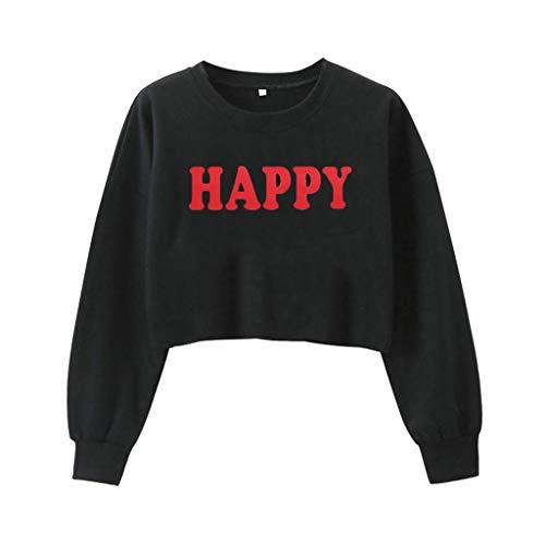 WYTong Hot Sale! Women Girls Sweatshirt Fashion Honey Letter Print Long Sleeve Crop Top Blouse Casual (S, Black)