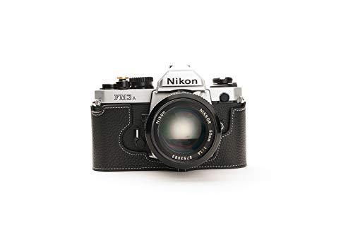 Funda de Cuero Genuino Hecho a Mano con Media cámara y Funda para Nikon FM3A Color Negro