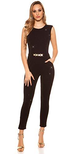 Koucla Damen Overall Jumpsuit Playsuit mit Schnalle (Schwarz-Gold (Glitzer), M)