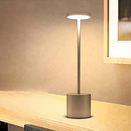 FACAI Lámpara de Mesita de Noche LED Regulable Luz Nocturna Inalámbrico para Restaurante Recargable por USB Luces de Tabla para Hotel, Ktv, Bar, Comedor,Gold
