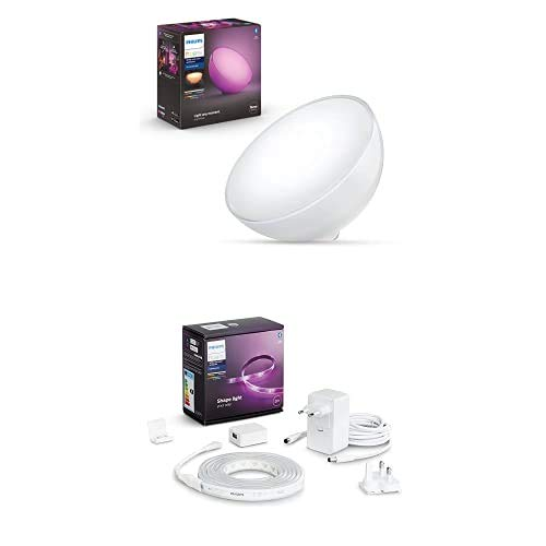 Philips Hue Go Lámpara de Mesa Inteligente LED, Bluetooth, Luz Blanca/Color + Lightstrip Tira Inteligente LED 2 m, Bluetooth, Luz Blanca/Color, Compatible con Alexa y Google Home (incl. alimentador)