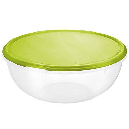 Rotho Rondo Schüssel 6l mit Deckel, Kunststoff (PP) BPA-frei, transparent/grün, 6l (32,5 x 32,0 x 13,5 cm)