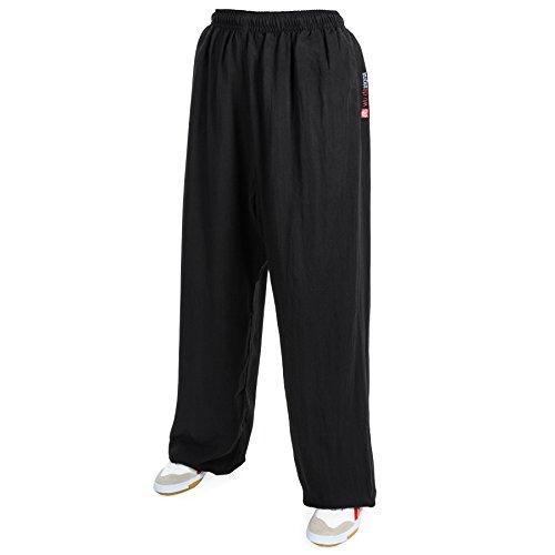 wu designs Baumwolle (Leicht) Kung Fu & Tai Chi Trainingshose Schwarz 185