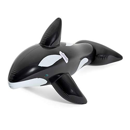 Aufblastier aufblasbare Reittier Tier Wal XL Ride-On Schwimmtier Badeinsel Luftmatratze Schwimmliege Wasserspielzeug Spielzeug für Pool Planschbecken Kinderpool See Meer Fluß ideal für Kinder