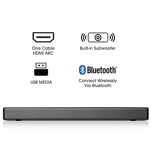 Hisense HS214 2.1ch Sound Bar with Built-in Subwoofer, 108W, All-in-one Compact Design with Wireless Bluetooth, Powered…
