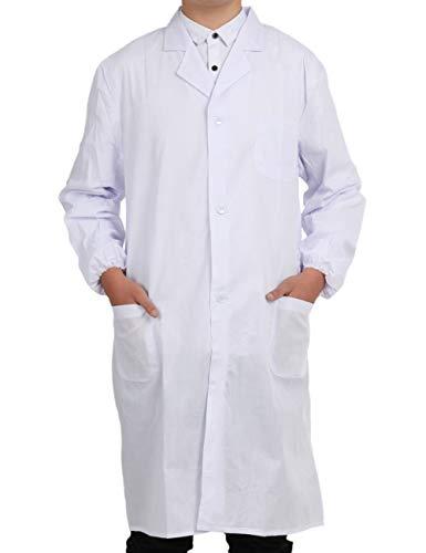 Bata Médico Laboratorio Enfermera Sanitaria de Trabajo Blanca de Manga Larga Unisex Blanco L