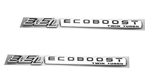Pair Set 3.5L Ecoboost Twin Turbo Emblem 3D Fender Logo Badge Sticker Decal Compatible for 3.5L Ecoboost (Chrome Black)