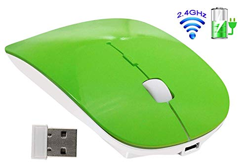 Tsmine Maus Kabellos Leise, Funkmaus Wiederaufladbare 2,4G USB Maus Drahtlos Schnurlos Mäuse mit USB-Empfänger (auf der Rückseite der Maus gespeichert) für PC, Notebook, Laptop, Computer-Grün