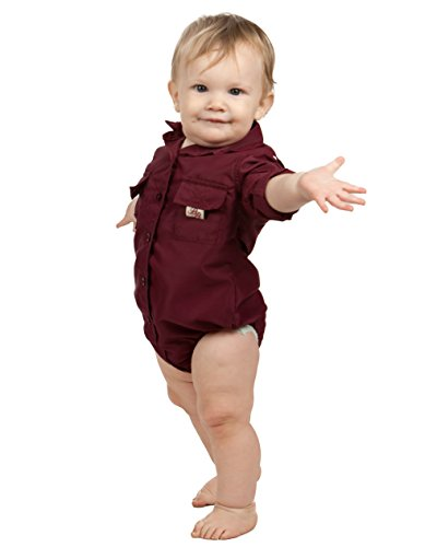 Bull Red Baby Boys Maroon PFG Vented Fishing Shirt Button Up One Piece Snaps, 12m