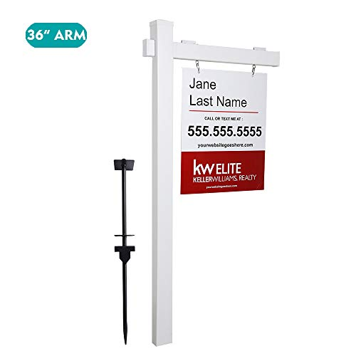 kdgarden Vinyl PVC Real Estate Sign Post 6ft. Tall (4'x 4'x 72') Realtor Yard Sign Post for Open House and Home for Sale, 36' Arm Holds Up to 24' Sign, White with Flat Cap(No Sign)