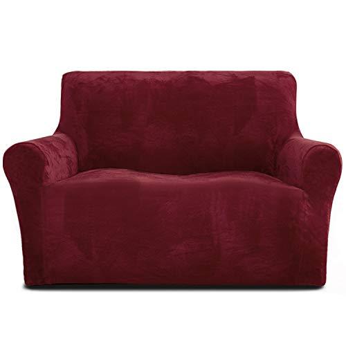Rose Home Fashion - Funda de sofá de 2 plazas, 1 pieza elástica de terciopelo con aspecto de terciopelo, funda de sofá para cama Loveseat de 119 a 173 cm, color rojo
