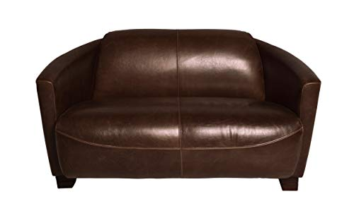 Wholesaler GmbH LC Home Ledersofa Hera Ledercouch 2-Sitzer Echtleder Couch Vintage antik braun 135 cm