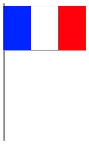 DH-Konzept 10 Fähnchen * Frankreich * als Deko für Mottoparty oder Länder-Party // Flaggen Fahnen Papierfahnen Flag France rot Weiss blau