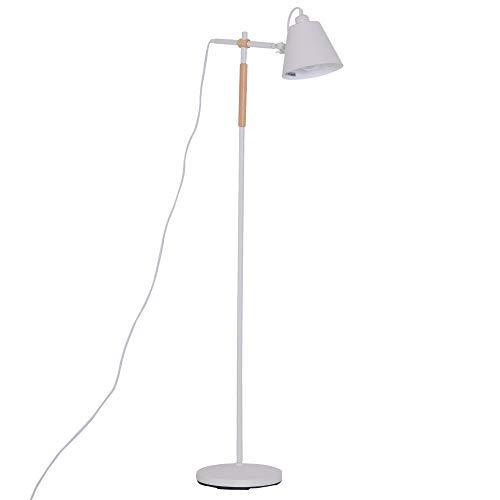 Homcom Lampadaire sur Pied lampadaire Arc Design Contemporain scandinave Orientation lumière réglable métal Blanc Bois Caoutchouc
