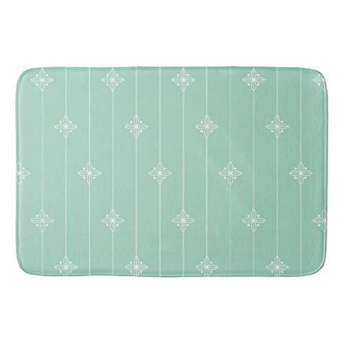 tian huan88 16x24 Inch Badmat, Pastel Mint Groene Geometrische Patroon Badmat Machine-Wasbare Vloermatten voor Badkamer