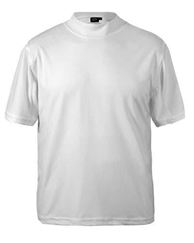 Akwa Men's Short Sleeve Dry Wicking Mock Turtleneck T-Shirt Shirt Made in USA White