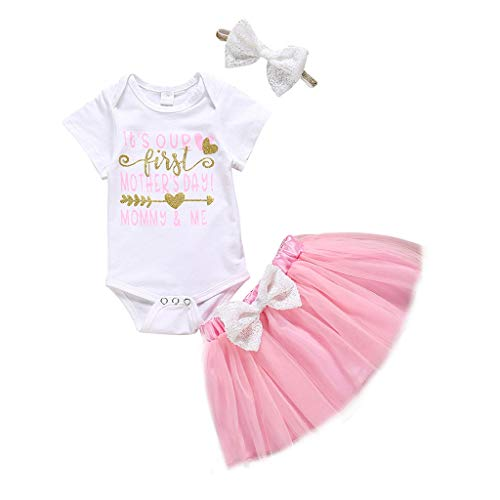FORESTIME My 1st Mothers Day Baby Girl Outfit Infant Happy Mothers Day Romper Tutu Dress with Bow Headband Clothes Set
