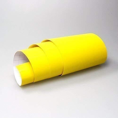 TipTopCarbon 8,55€/m² Glanz Hochglanz Gelb 152cm breit Blasenfrei Autofolie selbsklebend mit Luftkanäle 3D Flex Folie Auto