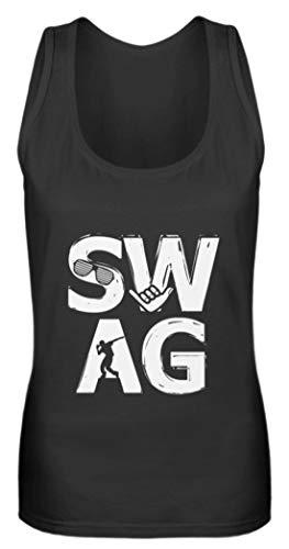 Swag Hip-Hop Musik Motiv - Camiseta de tirantes para mujer, diseño de radiocasete Negro  S