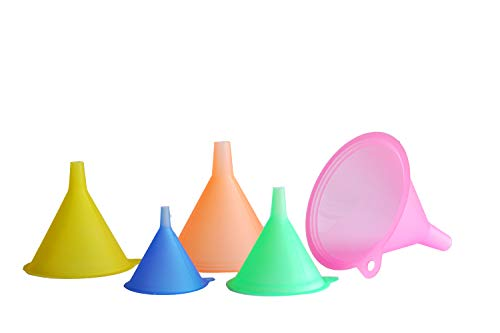 Mirenlife 5 Sizes Candy Colors Plastic Funnel Set for General Purpose, Lab Car Kitchen Home Tools, Liquids Dry Goods