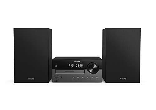 Philips M4505 12 Mini Chaîne Stéréo avec CD, USB, Bluetooth (Radio Dab+ FM, CD-MP3, 60 W, Entrée Audio, Port USB pour Charge, Enceintes Bass Reflex, Contrôle Numérique du Son) - Modèle 2020 2021