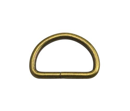 Wuuycoky Anillos D de bronce de 3,17 cm de diámetro interior con hebilla en D no soldada para correas de cincha, paquete de 10 unidades
