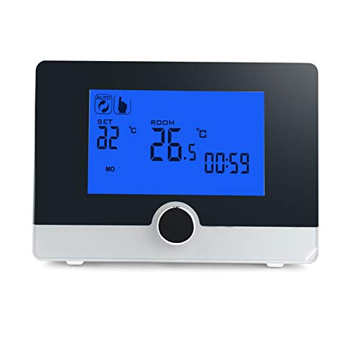 Huachaoxiang Termostato, Programable Digital para Termostato para Calentador De Calderas De Pared Controlador De Temperatura De Pantalla Inteligente,Negro