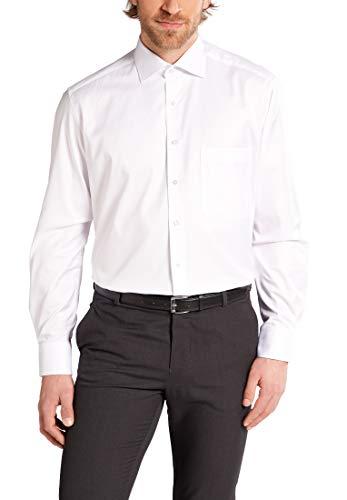 eterna Hemd Comfort FIT Twill unifarben ,   Weiß,  W44 Langarm