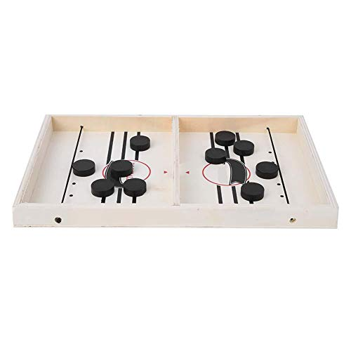 FastUU Juego de Mesa para 2 Jugadores, Hockey Catapult Bumper Chess Juego de Hockey sobre Hielo Bouncing Chess Simple Fun Parent-Child Home Recreational Toy(en Blanco y Negro)