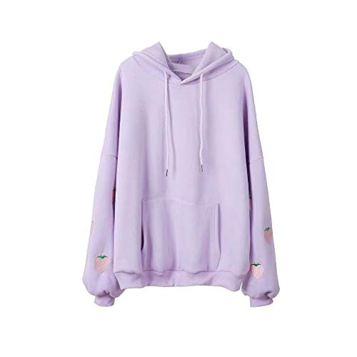 Womens Cute Harajuku Pastel Lavender Strawberry Embroidery Hoodies