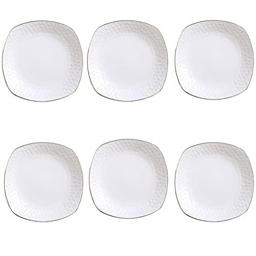 Platos 2 unids placas de cena de cerámica 8.19 pulgadas de oro rimmed vajilla conjunto para ensalada Pasta Placa de postre y aperitivo Party PR BODA (BLANCO) Vajilla (Color : A, Size : Large)