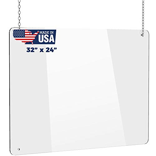 Hanging (24' x 32') Portable Acrylic Plexiglass Sneeze Guard Shield for Counter Barrier from Sneezing Cashier Protection, Multiple Sizes Available
