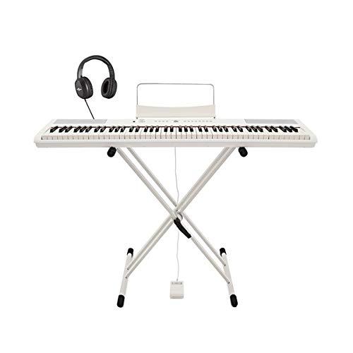 SDP-2 Stage-Piano von Gear4music mit Stander Pedal und Kopfhorer weis