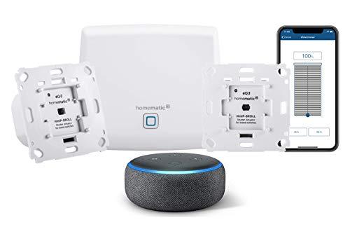 Homematic IP Smart Home Starter Set Beschattung - Intelligente Rollladensteuerung per Smartphone, 151670A0 + Echo Dot (3. Gen.) Intelligenter Lautsprecher mit Alexa, Anthrazit Stoff
