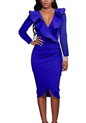 YMING Frauen Langarm Kleid Volant Partykleid Elegante Midi Bleistiftkleid Blau L/DE 40-42