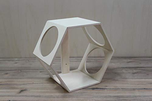 Mueble módulo para colgar en pared para gatos | Forma en hexágono de madera | Accesorios disponibles | Hecho a mano