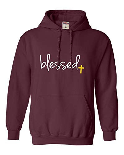 Go All Out XXXX-Large Maroon Adult Blessed Christian Humble Sweatshirt Hoodie