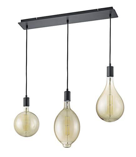 Trio Leuchten 323310332 Ginster Suspension à LED en métal noir mat et câble  gainé de tissu avec 1 ampoule LED 8 W Marron