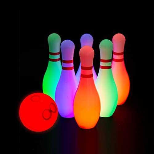 PUZZLE KING Light Up Kids Bowling Set Includes 6 Pins and 1 Ball Bowling Pins Toy Set for Kids Toddler Indoor & Outdoor Games for Boys Girls 7 Pcs, Large