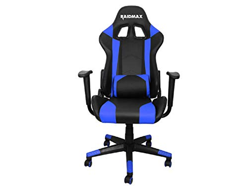Drakon DK702 Gaming Chair Racing Style PU Leather High-Back Ergonomic Swivel Chair with Headrest and Lumbar Support (Blue) blue chair gaming
