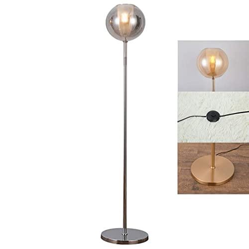Home Equipment Lámpara de pie de globo de vidrio de 150 cm Marco de metal Esfera Interruptor de pedal de luz Oficina en el hogar Sala de estar Luz de poste alto de pie único moderno con bombilla LE