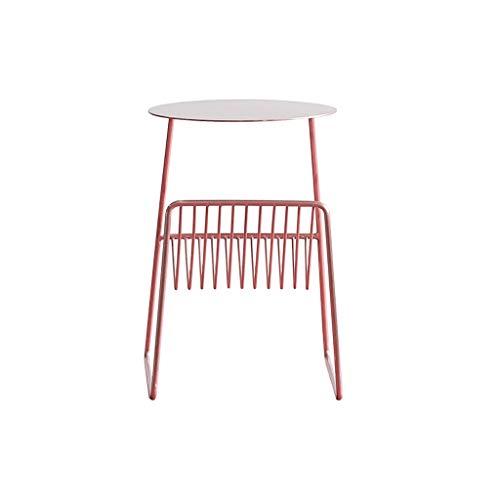 TangMengYun Armoires latérales simples nordiques en fer forgé, table d'appoint multifonction de salon table basse (Color : Pink, Taille : 31 * 37 * 45cm)