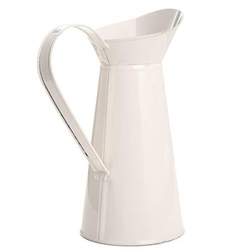 LUOSI Vasi 1pc Shabby Chic Cream Flower Vase Smalto Brocca Brocca Retro Ferro Idromassaggio for Wedding La Decorazione Domestica Bagagli Bucket Tool (Color : White)
