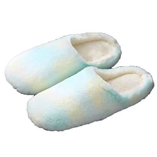 Fudeer Zapatillas Silenciosas Piel Sintética Mujer Felpa Cálida Esponjosa Suave Toboganes Casa Espuma Viscoelástica Acogedora Habitación Zapatos Interiores Exteriores,Verde,S