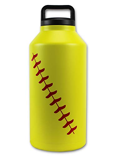 Urbanifi Water Bottle Baseball Softball 64 OZ Jug Cup Gift for Mom Men Flask Sports Travel Waterbottle, Stainless Steel, Vacuum Insulated, Keeps Water Cold for 24, Hot for 12 Hours (Softball)