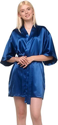 De la Mujer Pure Color Satén Damas de Honor Corto Kimono Lingerie albornoces, Azul marino, Grande