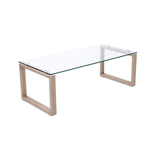 Adec - Mesa de Centro Benetto Cristal, mesita Auxiliar de Cristal, Patas Acabado en Oak (Roble), Medidas 50 x 110 cm