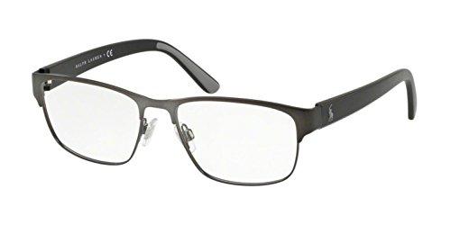 Polo 9187 Monturas de gafas, Rectangulares, 55, Matte Dark Gunmetal