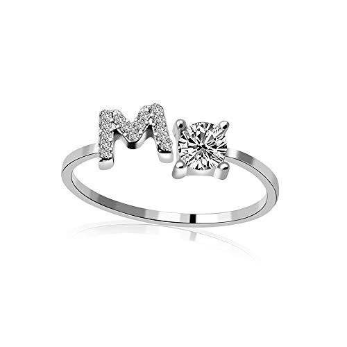 Anillo Abierto para Mujer,Letra Inicial De Plata Elegante Ajustable M con Anillo De Dedo De Diamantes De Imitación para Mujer Joyería Única De Moda para Cumpleaños