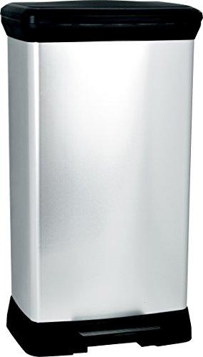 CURVER Poubelle à pédale rectangulaire - 50 Litres - Poubelle Haute Aspect Argent - Poubelle en Métal et Plastique recyclé pour Cuisine, Bureau, Salle de Bain - 39 x 29 x 72 cm